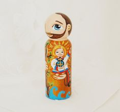 St Christopher Toy Catholic Wooden Saint Doll by SaintAnneStudio
