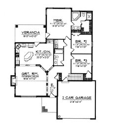 First Floor Plan Of Bungalow Ranch House Plan 97352 Without The Arches And Walls Between