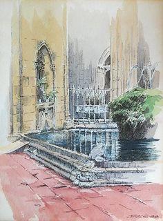 Claustro de la Catedral de Barcelona | cathedral cloister, by Joaquim Francés (watercolor and ink)