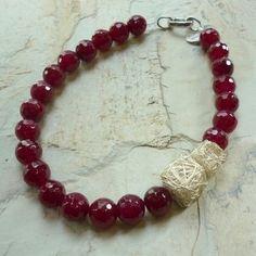 Fucsia rosa collar collar de Jade rosa collar de piedras