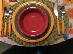 Fiesta® Dinnerware colors for Autumn place setting: Marigold, Sage and Paprika.
