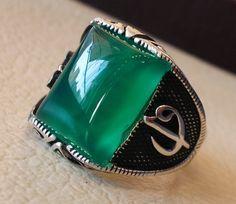 ottoman green onyx agate aqeeq sterling silver by AbuMariamJewels