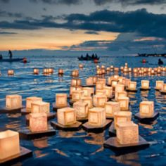 this would be fun at the ranch.. have all the guest light candles and float them away in the lake!