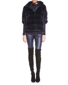 St. John Collection Striped Rabbit Fur Zip Jacket, Light Gauge Knit Funnel-Neck Sweater & Stretch Napa Leather Cropped Leggings, Navy Fall 2015