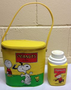 Old Vintage RARE 1965 Snoopy Peanuts Vinyl Lunch Box Brunch Bag w Thermos | eBay