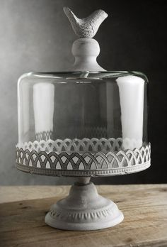 Cake Stands Pedestal Bird Top 10.5x8 w/ Glass Dome Cover  http://www.save-on-crafts.com/cakestand4.html