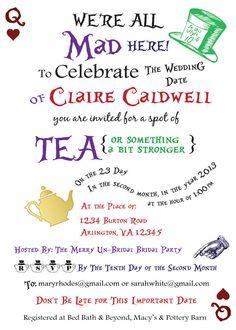 Alice in Wonderland Bridal Invitation by heyheyitsclaydesigns