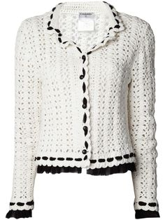 Chanel Vintage double collar crochet jacket