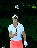 Anna Nordqvist of Sweden plays her tee shot at the par 4 2nd hole during the final round of the 2015 KPMG Women's PGA Championship on the West Course...