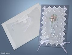 """""""Roses"""" wedding card with envelope (parchment craft)"""