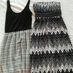 BUNDLE of 2 beautiful maxi dresses size small BUNDLE of 2 Beautiful maxi dresses. Both are black and white and size small . the tank top one is 55 inches from shoulder to bottom and the strapless one is 48 inches from busy to bottom. They are both in excellent condition. This is a great deal Dresses Maxi