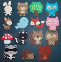 Medium FOREST Die Cuts Choose all 1 kind or any MIX Owl Deer Bird Fox Squirrel Raccoon Hedgehog Beaver Skunk Cut Out Buy More and SAVE