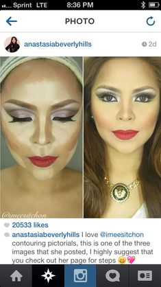 Contouring before and after. gives an idea at least.