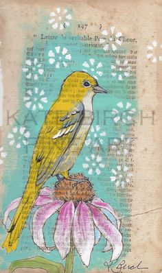 Yellow Bird On Coneflower original painting by kebirch on Etsy, $40.00