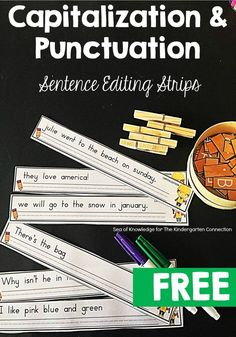 These sentence editing strips are perfect for early elementary students to work on capitalization and punctuation in a fun, hands on way!