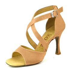 a42b89f2 [$34.99] Mujer Zapatos de Baile Latino / Salón / Zapatos de Salsa Satén  Sandalia Hebilla Tacón Personalizado Personalizables Zapatos de baile  Amarillo ...