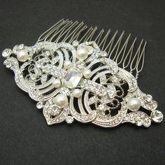 I - LOVE - THIS Victorian Style Pearl Rhinestone Bridal Hair Comb, Wedding Bridal Comb, Vintage Wedding Hair Accessories, Art Deco Wedding Hair Comb, REGINA. $68.00, via Etsy.