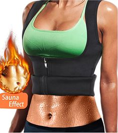 86abbd68ea LODAY Women Neoprene Sauna Sweat Waist Trainer Vest with Zipper for Weight  Loss Gym Workout Body Shaper Tank Top Shirt (Black(Girdles Shapewear)