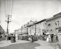 "Shore Fastline: Atlantic City circa 1908. ""Virginia Avenue from the Boardwalk."" 8x10 inch dry plate glass negative, Detroit Publishing Company. Click to view full size."