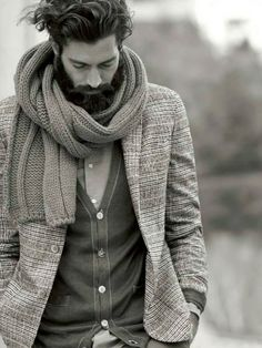 Beard cardigan winter Style fashion streetstyle men scarf
