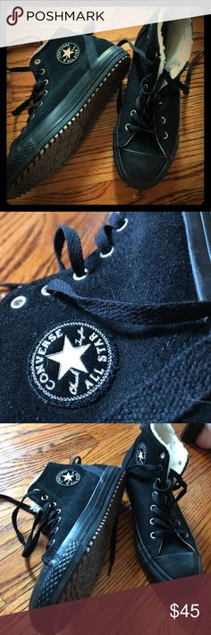 all black + wool converse hi top chuck sneakers Never worn; a pair of chuck taylors I just had to add to my collection that need a new home cause I don't wear em... these are super hard to find. They are a boy's 5 or women's 6.5/7 (They fit more like a 7) the classic style chucks but solid black, even the toe. Lug work boot style sole is brown, and the inside is a great woolen like cushioned material. Black laces, 7 eyelets; suedette kind of material. Perfect shape, never worn so zero wear…
