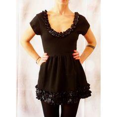 Mini abito in felpa garzata color nero con scollo