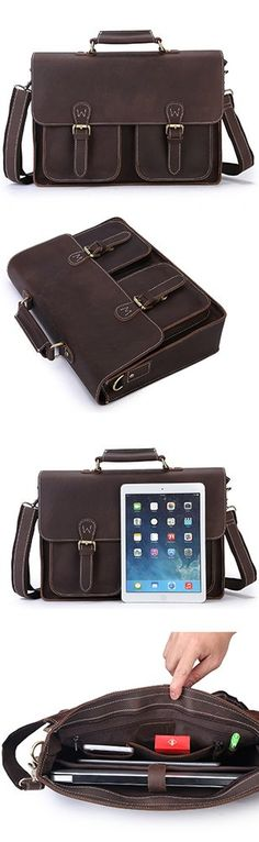 Image of Men's Vintage Genuine Leather Laptop Bag Messenger Briefcase Shoulder #Handbag A06