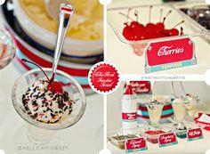 Retro 50s Style Coke Float and Ice-Cream Sundae Social birthday party from www.hellomysweet.me