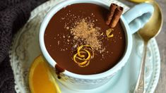 Velvety dark chocolate and zesty orange flavor set this healthy hot cocoa recipe apart. Hot Cocoa Recipe, Cocoa Recipes, Dessert Recipes, Healthy Hot Chocolate, Hot Chocolate Recipes, Making Chocolate, Chocolates, Figgy Pudding, Around The World Food