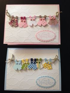 Baby clothes on a clothesline baby card for boy and girl