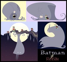 Bernice Gordon has been a long time fan of the father-son relationship between Batman and Robin, and so created this marvelous set of depictions in the style of a children's storybook.