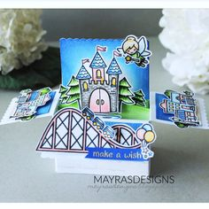 """Hello everyone!!! I and sharing my """"Disneyland theme"""" card, I created using lots of @lawnfawn stamps , from the moment I saw the Coaster…"""
