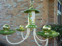 Tweet Yellow and Green Bird feeder Chandy by Lindagodi on Etsy, $59.00