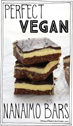 Perfect Vegan Nanaimo Bars! This Canadian classic dessert is made up of a coconut and chocolate cookie base, a creamy custard layer, all topped with chocolate. Dairy free, egg free, gluten-free. #itdoesnttastelikechicken