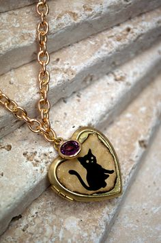 Halloween cat locket vintage altered art with by GossamerScapes, $29.00