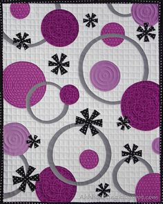 Fun mini-quilt for the Radiant Orchid Quilt Challenge, made by Cynthia Muir of Ahhh...Quilting.