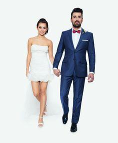 Kolekcja ślubna Giacomo Conti: niebieski garnitur na ślub (100% wełna, model Marco 2 E14/09B) #giacomoconti