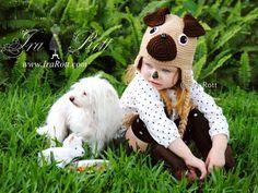 Handmade Crochet Pug Puppy Dog Hat for Boys and Girls Crochet Animal Hats, Crochet Hats, Purebred Cats, Puppy Hats, Dog Spay, Earflap Beanie, Cute Hats, Baby Hats, Crochet Patterns