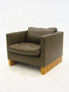 Ludwig Mies van der Rohe; Wood and Leather Lounge Chair for Knoll, 1970s.
