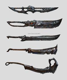 ArtStation - Swords and Machetes, Adrian Biłozór Fantasy Blade, Fantasy Sword, Fantasy Weapons, Fantasy Art, Anime Weapons, Sci Fi Weapons, Weapon Concept Art, Armas Ninja, Cool Swords