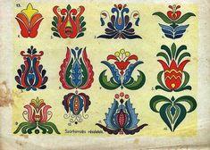 Folk Embroidery Patterns A teljes méretű képhez kattints ide Hungarian Embroidery, Folk Embroidery, Learn Embroidery, Embroidery For Beginners, Embroidery Techniques, Flower Embroidery, Chain Stitch Embroidery, Embroidery Stitches, Embroidery Patterns