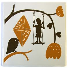 Black on white Ceramic screen printed tile, reads 'Everything Is Going To Be Ok' Measures Stencil Printing, Screen Printing, 3d Things, Nice Things, Rob Ryan, I Love You Words, Artist Painting, Art Pictures, Paper Cutting