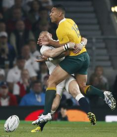 England fullback Mike Brown comes up with a try-saving tackle to stop opposite number Israel Folau in his tracks Israel Folau, Australia Rugby, 2015 Rugby World Cup, England, Number, Brown, Sports, Hs Sports, Sport