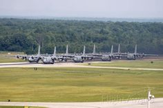 Eight C-130H2's from the 910th Airlift Wing, Air Force Reserve Command (AFRC) ready to launch. First and only Minimum Interval Takeoff (MITO) I saw while assigned there. Photo taken from the ATCT cat-walk on 22 June 2013. Aircraft lined up with 89-9103 include 89-9104, 89-9105, 89-9106, 92-3021, 92-3022, 92-3023, and 92-3024.