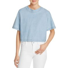 J Brand Archer Chambray Top (€180) ❤ liked on Polyvore featuring tops, genuine, blue top, j brand, boxy tops, chambray top and j brand top