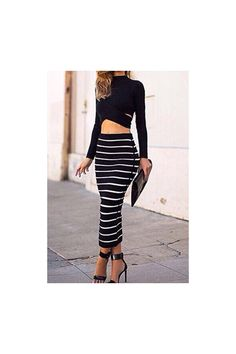 Set: Turtle Neck Crop Top+ Bodycon Striped Skirt - Street Style Store