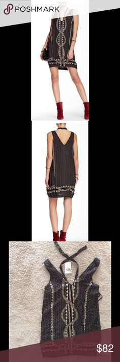 "🌹POSH🎉🌹 Free People Diamond Print Dress Double V with halterneck sash tie, sleeveless, allover print, embellished. About 36"" length. Shell: 100% polyester. Lining: 100% cotton. Free People Dresses Mini"