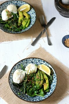 Greens + eggs breakfast bowl with homemade dukkah || to her core