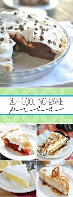 Over 25 recipes for No Bake Pies including Homemade Chocolate Cream, Lemon Marshmallow Meringue, and Strawberry Cream! Pie Dessert, Dessert Drinks, Dessert Recipes, Dessert Ideas, Dessert Simple, Baking Recipes, Pie Recipes, Jello Recipes, Whole30 Recipes