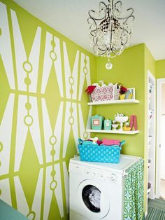 Make the laundry room a fun looking room...for fun laundry days. Organize This: Small Laundry Nooks | BHG Style Spotters